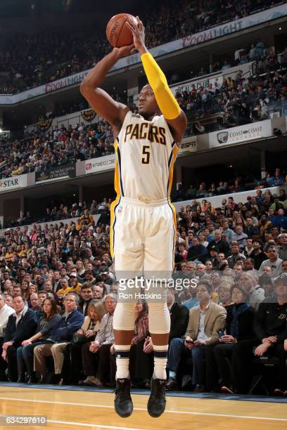 Lavoy Allen of the Indiana Pacers shoots the ball against the Cleveland Cavaliers on February 8 2017 at Bankers Life Fieldhouse in Indianapolis...