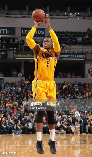 Lavoy Allen of the Indiana Pacers shoots the ball against the Minnesota Timberwolves on March 28 2017 at Bankers Life Fieldhouse in Indianapolis...
