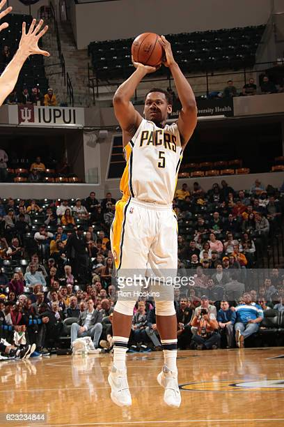 Lavoy Allen of the Indiana Pacers shoots the ball against the Orlando Magic on November 17 2016 at Bankers Life Fieldhouse in Indianapolis Indiana...
