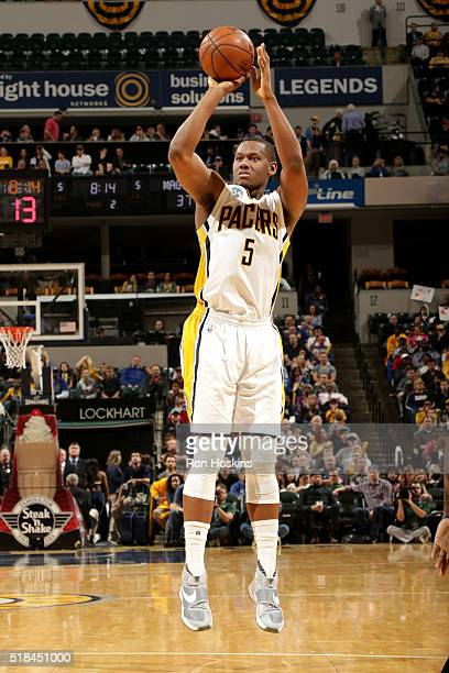 Lavoy Allen of the Indiana Pacers shoots the ball during the game against the Orlando Magic on March 31 2016 at Bankers Life Fieldhouse in...