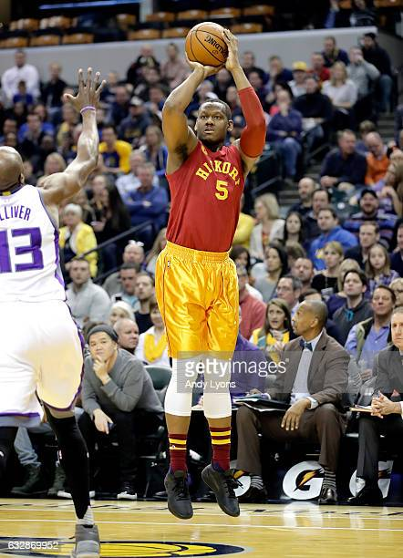Lavoy Allen of the Indiana Pacers shoots the ball during the game against the Sacramento Kings at Bankers Life Fieldhouse on January 27 2017 in...
