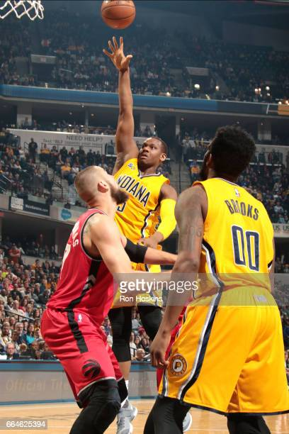 Lavoy Allen of the Indiana Pacers shoots the ball during the game against the Toronto Raptors on April 4 2017 at Bankers Life Fieldhouse in...