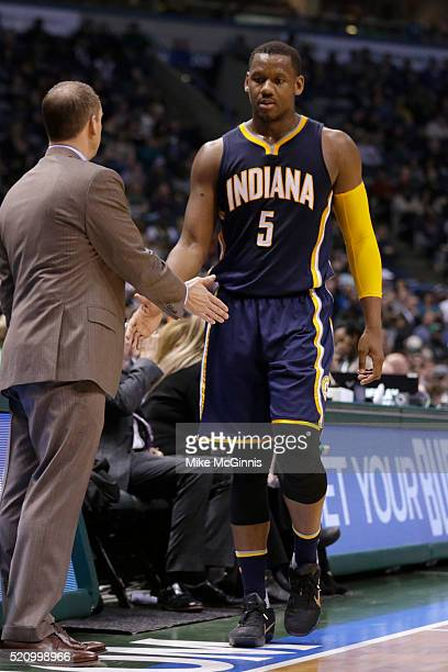 Lavoy Allen of the Indiana Pacers walks to the bench during the third quarter in his NIKE signature Mamba shoes against the Milwaukee Bucks at BMO...