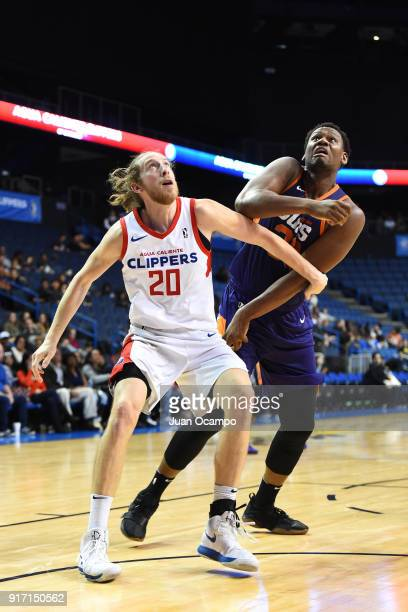 Lavoy Allen of the Northern Arizona Suns and Keith Steffeck of the Agua Caliente Clippers of Ontario react to a play during the game on February 11...