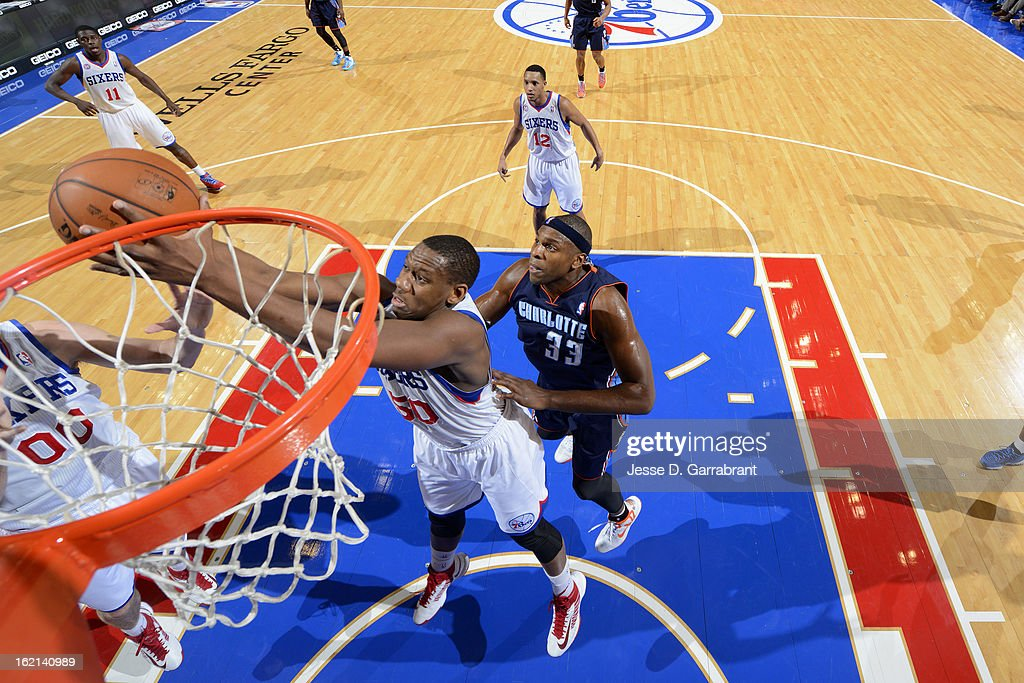 Lavoy Allen #50 of the Philadelphia 76ers grabs a rebound against the Charlotte Bobcats at the Wells Fargo Center on February 9, 2013 in Philadelphia, Pennsylvania.