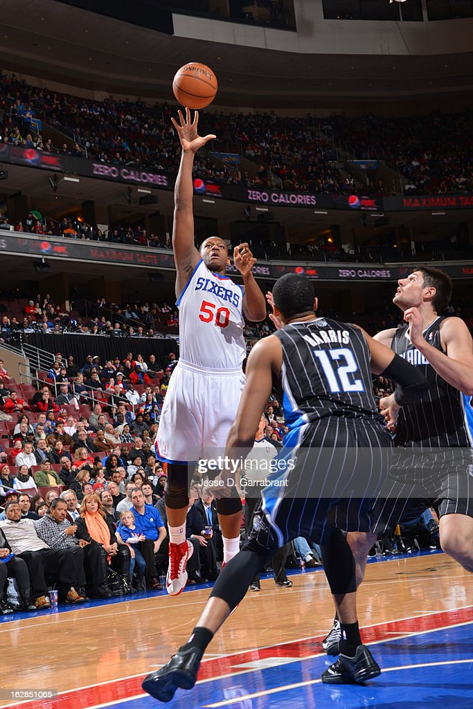 Lavoy Allen #50 of the Philadelphia 76ers puts up a shot against the Orlando Magic at the Wells Fargo Center on February 26, 2013 in Philadelphia, Pennsylvania.
