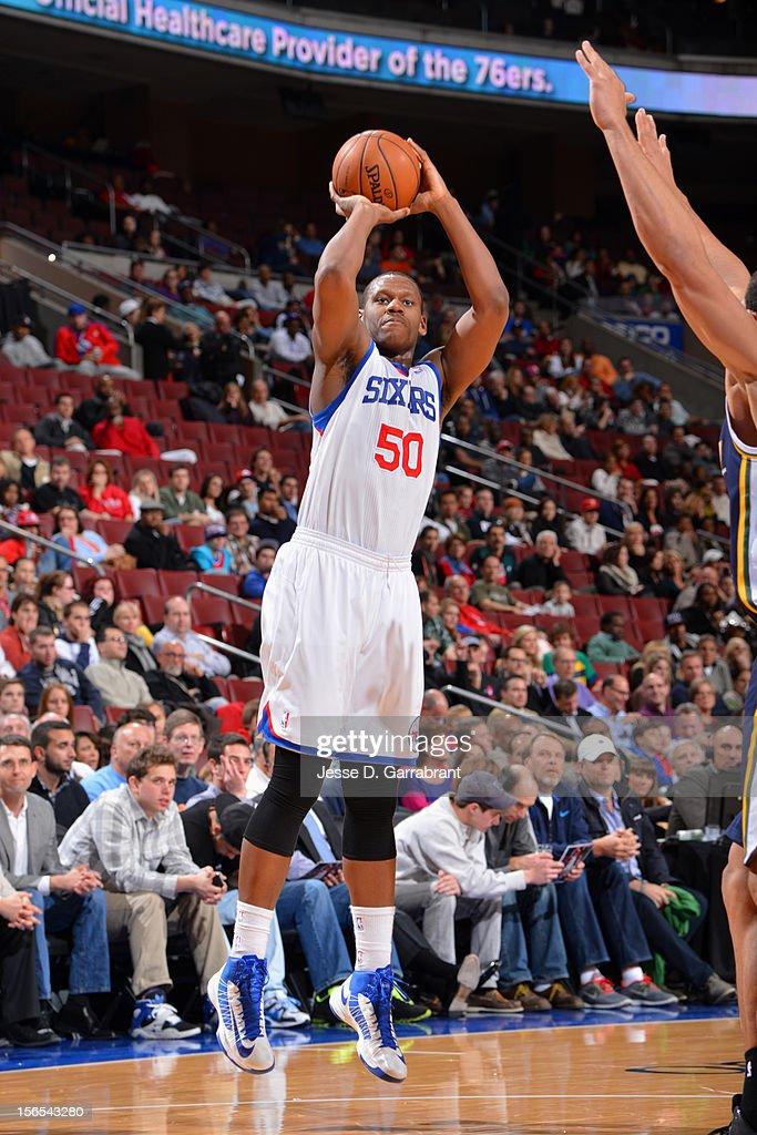 Lavoy Allen #50 of the Philadelphia 76ers takes a jump shot against the Utah Jazz at the Wells Fargo Center on November 16, 2012 in Philadelphia, Pennsylvania.