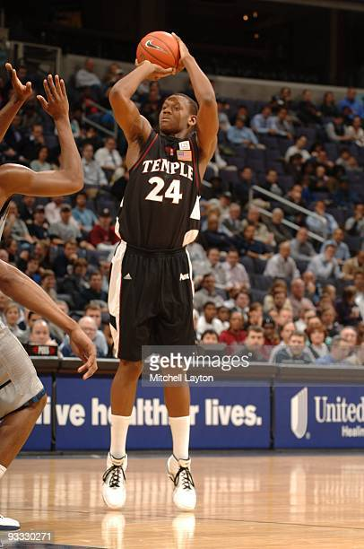 Lavoy Allen of the Temple Owls takes a jump shot during a college basketball game against the Georgetown Hoyas on November 17 2009 at Verizon Center...