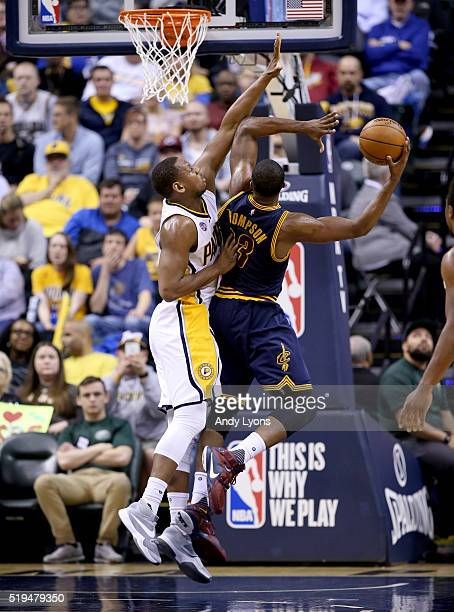 LaVoy Allen#5 of the Indiana Pacers defends the shot of Tristan Thompson of the Cleveland Cavaliers at Bankers Life Fieldhouse on April 6 2016 in...