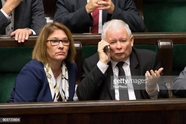 Law and Justice party spokesperson Beata Mazurek and Leader of the Law and Justice rulling party Jaroslaw Kaczynski in Warsaw Poland on 15 September...