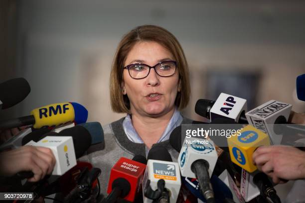 Law and Justice party spokesperson Beata Mazurek in Warsaw Poland on 09 January 2018 Beata Mazurek is a candidate for the Deputy Speaker of the Sejm