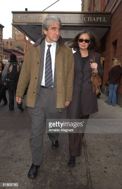 Law and Order star Sam Waterston and his wife attend the funeral for Jerry Orbach at Riverside Chapel December 31 2004 in New York City