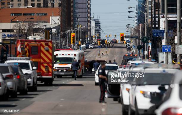 Law enforcement and first responders on scene at Yonge St at Finch Ave after a van plows into pedestrians April 23 2018 in Toronto Ontario Canada A...
