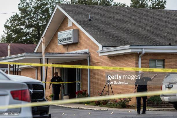 Law enforcement continues their investigation around the Burnette Chapel Church of Christ on September 24 2017 in Antioch Tennessee One person was...