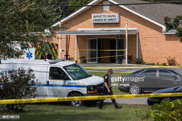Law enforcement gathers around the Burnette Chapel Church of Christ on September 24 2017 in Antioch Tennessee One person was killed and seven were...