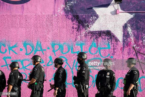 Law enforcement in the Fairfax District on Saturday, May 30, 2020 in Los Angeles, CA. Protests erupted across the country, with people outraged over...
