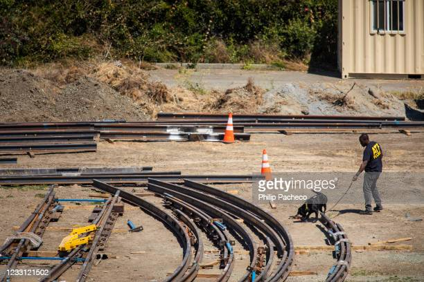 Law enforcement K-9 unit searches for evidence at the Valley Transportation Authority light-rail yard where a mass shooting occurred on May 26, 2021...