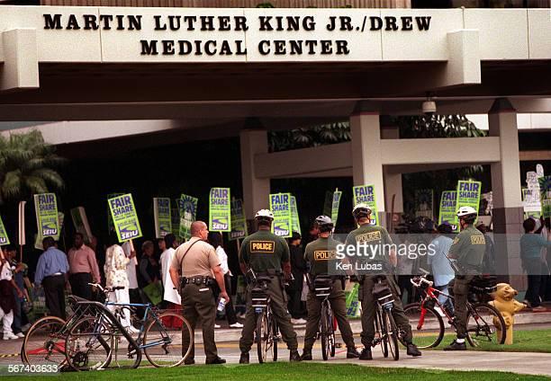 Law enforcement keeps eye on striking hospital workers at Martin Luther King Jr/Drew Medical Center Thursday morning Oct 5 2000