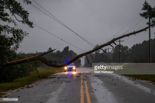 A law enforcement officer blocks traffic from a downed tree on rural South Carolina state highway 51 on September 14 2018 near Florence South...
