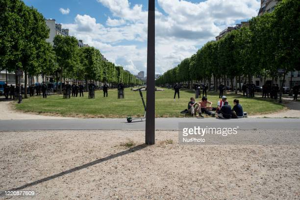 Law enforcement officers deployed near the esplanade des Invalides during the rally of medical personnel that brought together at least 18,000 people...
