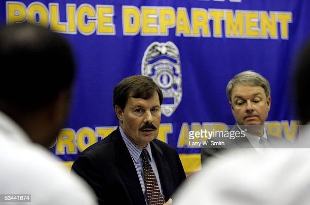 Law enforcement officers Gary Steed Sedgwick County Sherriff Kevin Stafford FBI speak at a news conference about the case on Dennis L Rader the man...