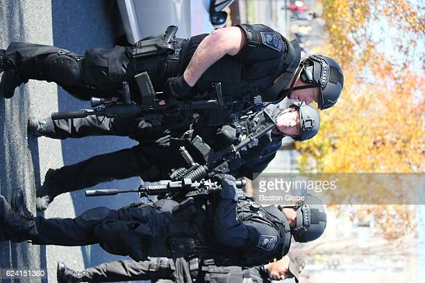 Law enforcement officials and SWAT team members respond to a threat on the campus of Boston University at 771 Commonwealth Ave in Boston on Nov 18...