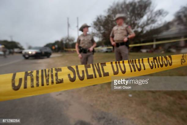 Law enforcement officials continue their investigation into the shooting at the First Baptist Church of Sutherland Springs on November 7 2017 in...