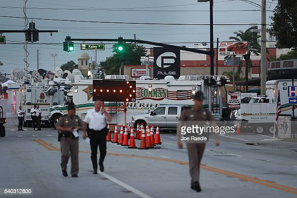 Law enforcement officials continue to investigate the Pulse gay nightclub where Omar Mateen killed 49 people on June 15 2016 in Orlando Florida The...