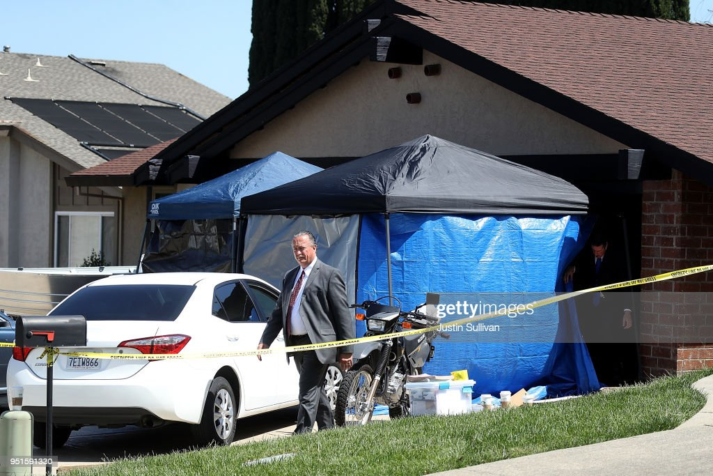 Law enforcement officials leave the home of accused rapist and killer Joseph James DeAngelo on April 24, 2018 in Citrus Heights, California. Sacramento District Attorney Anne Marie Schubert was joined by law enforcement officials from across California to announce the arrest of 72 year-old Joseph James DeAngelo who is believed to be the the East Area Rapist, also known as the Golden State Killer, who killed at least 12, raped over 45 people and burglarized hundreds of homes throughout California in the 1970s and 1980s.