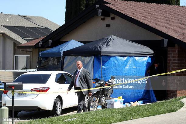 Law enforcement officials leave the home of accused rapist and killer Joseph James DeAngelo on April 24 2018 in Citrus Heights California Sacramento...