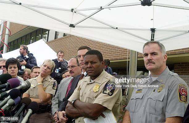 Law enforcement officials report on the investigation into the Washington area sniper shootings From 2nd left are Montgomery County Md Police Capt...