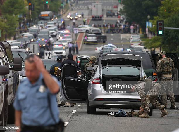 Law enforcement officials respond to the Navy Yard facility July 2 2015 in Washington DC There was reports of a active shooter This is the site of a...