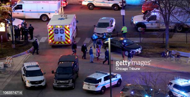 Law enforcement officials work near Mercy Hospital Nov 19 2018 Multiple people including a Chicago police officer were reported shot at the Near...