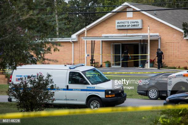 Law enforcement personnel gather around the Burnette Chapel Church of Christ on September 24 2017 in Antioch Tennessee One person was killed and...