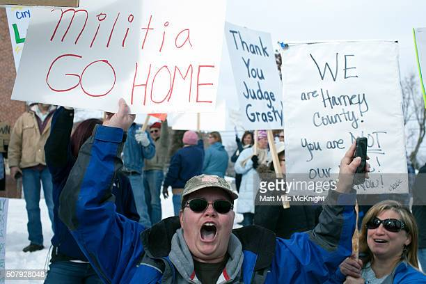 Law enforcement supporters chant outside the Harney County Courthouse on February 1 2016 in Burns Oregon Approximately 300 people gathered in support...