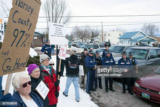 Law enforcement supporters gather alongside Oregon State Troopers outside the Harney County Courthouse on February 1 2016 in Burns Oregon...
