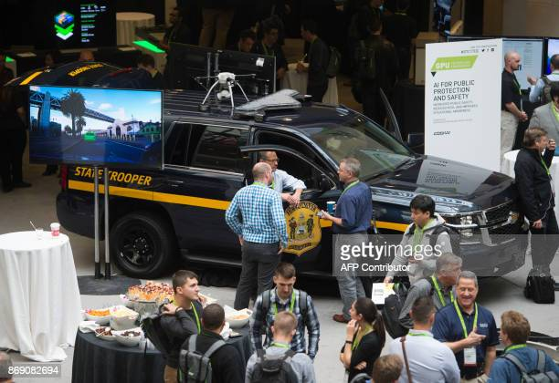 A law enforcement vehicle outfitted with facial recognition and artificial intelligence systems is seen during the NVIDIA GPU Technology Conference...