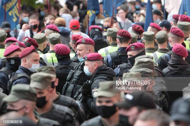Law enforcers stand guard outside the Pecherskyi District Court due to host a bail hearing of Opposition Platform - For Life MP Viktor Medvedchuk,...