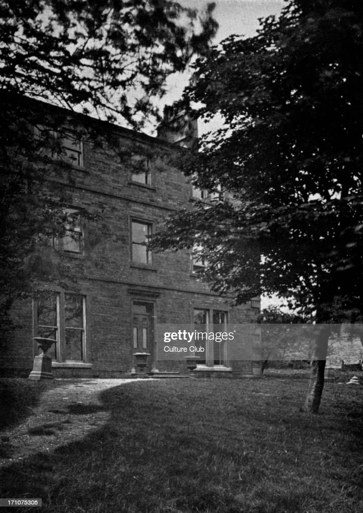 Law Hill School near Halifax. Supposed to be the original Wuthering Heights. Wuthering Heights, novel by Emily & Charlotte Brontë. Caption reads: Law Hill - Front (Wuthering Heights)'. Photograph by Mr W.R. Bland with Mr C. Barrow Keene.