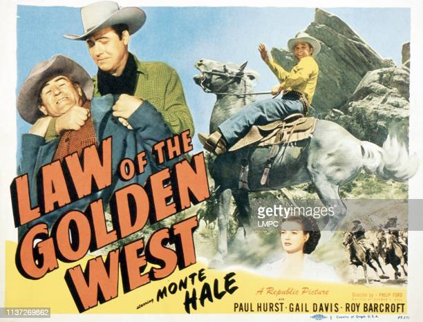 Law Of The Golden West poster from left Roy Barcroft Monte Hale Gail Davis 1949