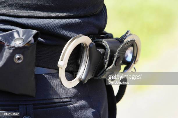 Law Order Police officers belt with handcuffs