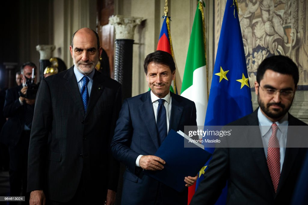 Law professor Giuseppe Conte, Italy's new prime minister designate, speaks to the press to present his ministers list after being appointed by Italian President Sergio Mattarella on May 31, 2018 in Rome, Italy.