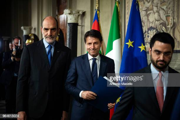 Law professor Giuseppe Conte Italy's new prime minister designate speaks to the press to present his ministers list after being appointed by Italian...