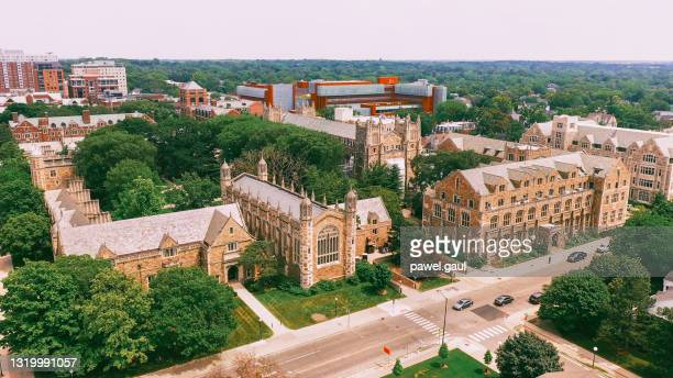 law quadrangle university of michigan ann arbor aerial view - michigan stock pictures, royalty-free photos & images