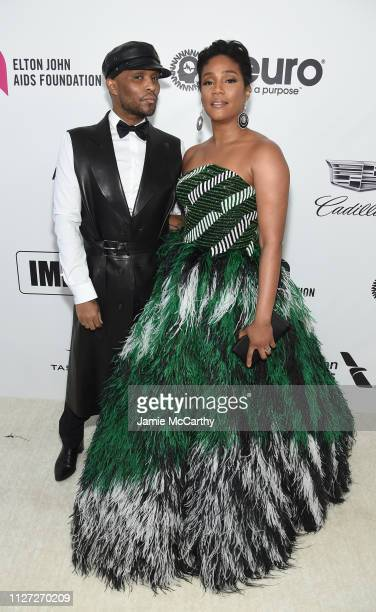 Law Roach and Tiffany Haddish attend the 27th annual Elton John AIDS Foundation Academy Awards Viewing Party sponsored by IMDb and Neuro Drinks...
