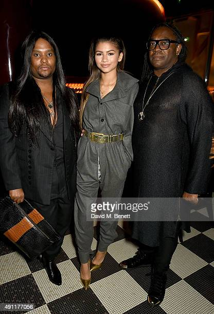 Law Roach Zendaya and Kazembe Coleman attend the Hunger Magazine Vivienne Westwood Paris Fashion Week Event celebrating the Vivienne Westwood's SS/16...
