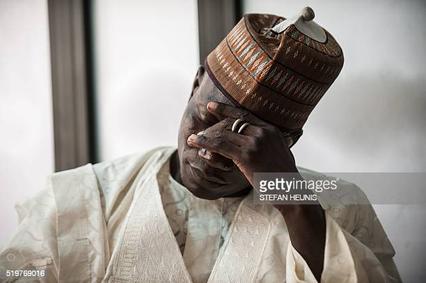 Lawan Zannah father of Aisha Zannah one of the abducted Chibok girls reacts during an interview in Lagos on April 5 2016 On April 14 2014 Boko Haram...