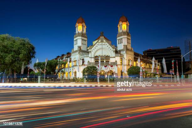 lawang sewu blue hour - semarang - old town stock pictures, royalty-free photos & images
