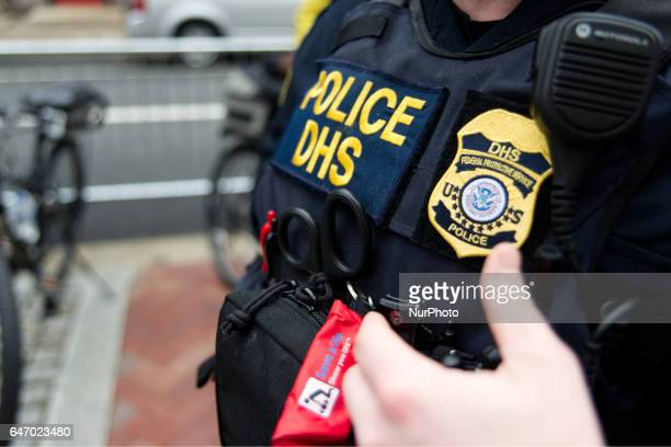 Lawenforcement officers with DHS and Local Police dept post outside US Customs and Border Protection Philadelphia Offices in Philadelphia PA on March...