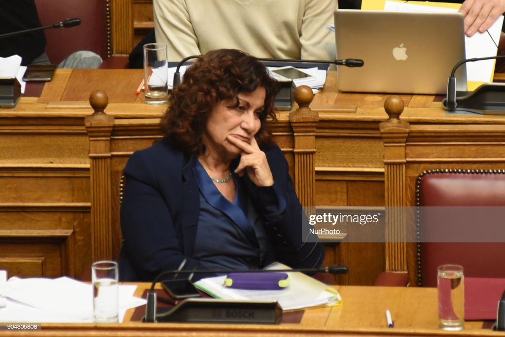 SYRIZA lawmaker, Aristides Baltas at the Hellenic Parliament in Athens on January 12, 2018 during a discussion about an urgent draft law for the prerequisites of the third inspection of the third credit package for Greece.